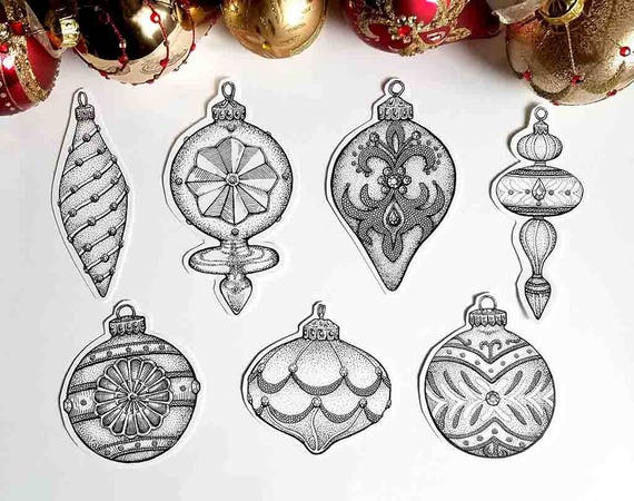 Drawings Of Christmas Ornaments.Fancy Ornaments Clipart Christmas Clip Art Instant Digital Download Xmas Baubles Vintage Retro Home Decor Wall Print Png Svg