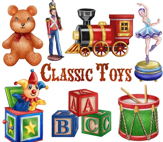 Classic Toys Clipart Instant Digital Download Teddy Etsy