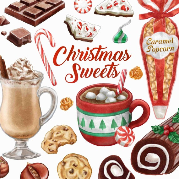 Christmas Sweets.Christmas Sweets Clipart Watercolor Candy Clip Art Chocolate Candy Cane Hot Cocoa Popcorn Cookies Digital Instant Download Png