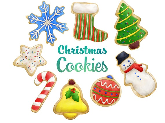 Christmas Cookies Clipart Instant Digital Download Sugar Cookies Holiday Sweets Candy Snowflake Snowman Ornament Tree Png
