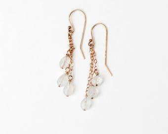 3 rainbow moonstone dangle earrings