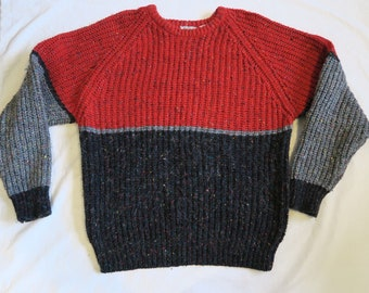 7e37a03c1658b Vintage Mix Concrete Men s M Medium Red and Grey Chunky Knit Sweater