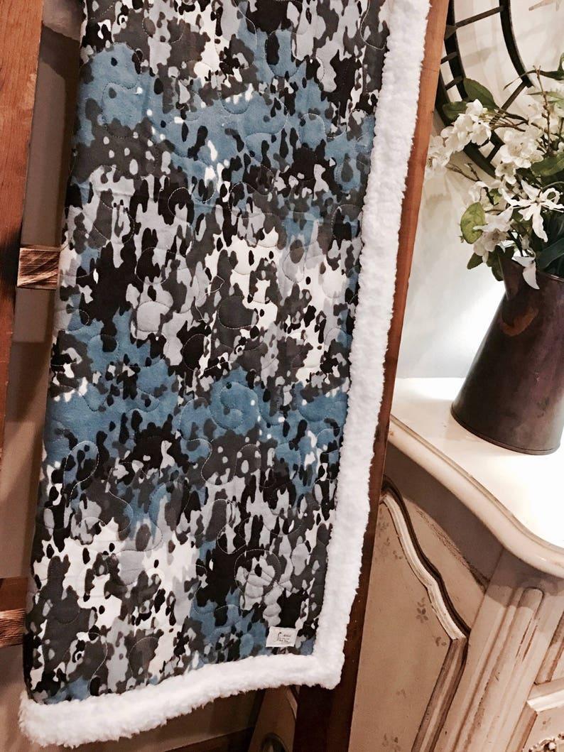 Blue camo blanket baby blanket adult throw modern baby gift shower gift