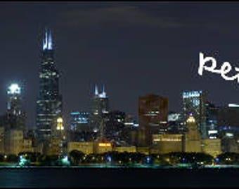 Chicago skyline panorama with fireworks print