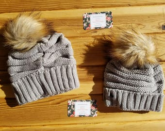 67b2491874e636 Mommy and Me Matching Hats / Slouchy Beanies / Pom Pom Beanie / Unisex /