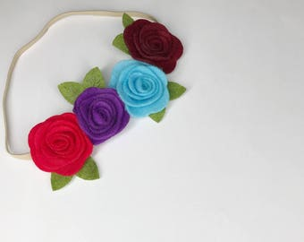 Felt flower crown, Felt flower headband, felt flower, felt headband, Baby headband, Flower headband, hair accesories for girls