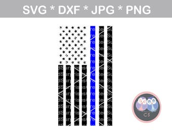 Thin Blue Line Police Vertical Flag Hero svg dxf png jpg digital cut file for cutting machines personal commercial Silhouette Cameo Cricut