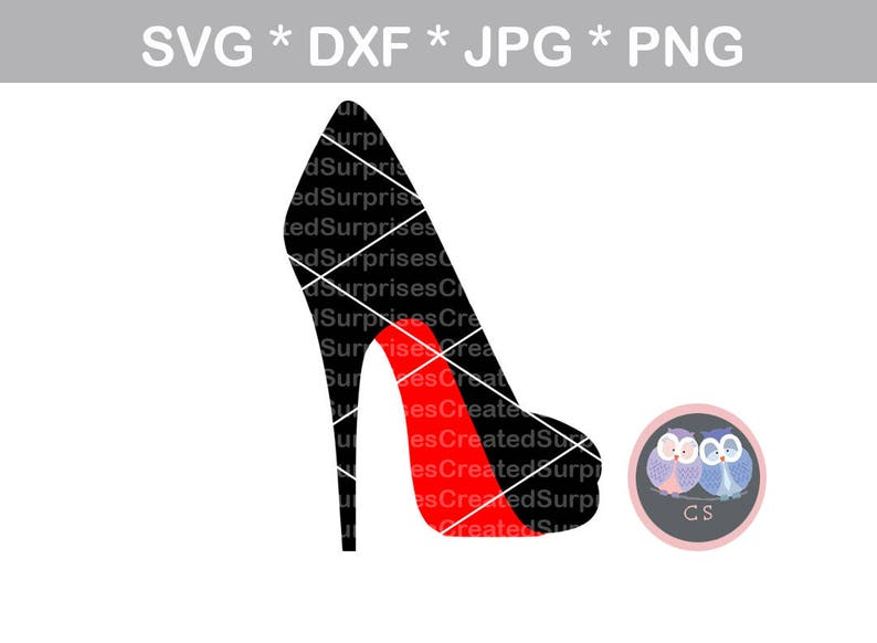 High heel pump stiletto red svg dxf png jpg digital cut image 0