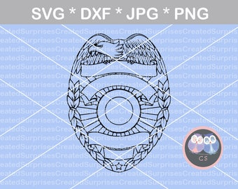 Police, Badge, Eagle, Hero, svg, dxf, png, jpg digital cut file for cutting machines, personal, commercial, Silhouette Cameo, Cricut