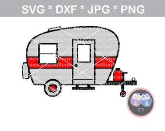 Camper, happy camper, camper SVG, svg, dxf, png jpg digital cut file for cutting machines, personal, commercial, Silhouette Cameo, Cricut