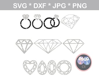 Wedding ring, diamond, gem, svg, dxf, png, jpg digital cut file for cutting machines, personal, commercial, Silhouette Cameo, Cricut
