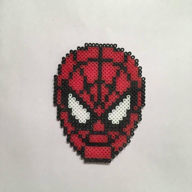 Spiderman Face Perler Bead Sprite Etsy