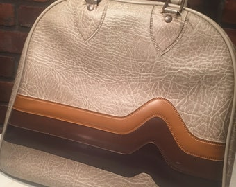 Don Carter Bowling Bag Vinyl Brown Beige Chocolate Butterscotch Bowling Ball Bag with Wire Rack