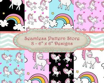 Seamless Pattern 8 Unicorn Love Heart and Rainbow Digital Paper Designs