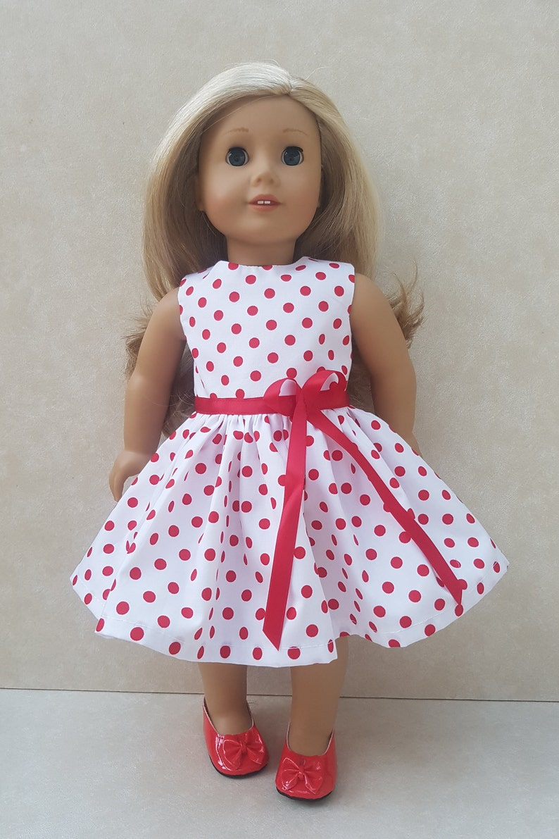 """18/"""" doll clothes-fits American Girl Generation My Life-Dress-Dots Owls"""