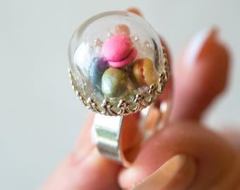 """""""Miss macarons"""" Silver dome ring"""