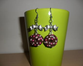 Earrings Donuts in fimo Silver Bow charm