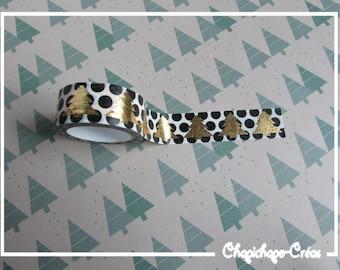 Washi tape masking tape black round Golden trees Christmas winter mountain masking tape life crafting Scrapbooking card making Project