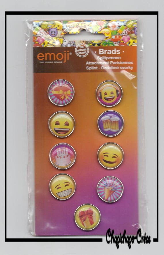Birthday Party Cake Gift Emoticons Emoji Scrapbooking Brads