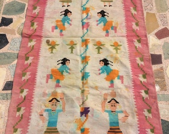 Vintage Rug, Antique Carpet, Dhurrie from Punjab, Home Decor Rugs, handmade in 1930s. Collectable rugs, Cotton rugs. Vintage Carpets.