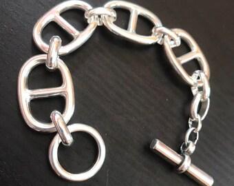 69f2203a51 Magnifique bracelet grosse maille marine style hermes neuf en plaqué argent