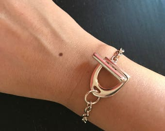 Beautiful Stirrup toggle clasp in stainless steel new bracelet