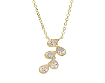 Gold Plated Cascading Teardrop Pendant Necklace, Cubic Zirconia, Dangle Drops of leaves