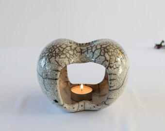 Aromatherapy Device, Raku Fired, Essential Oil Burner, Ceramic Handmade, White Crackled, Oil Warmer, Wax Melter, Oil Diffuser, One Of A Kind