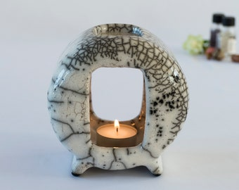 Wax Melter, Essential Oil Burner, Ceramic Handmade, Raku Fired, White Crackled, Oil Warmer, Oil Diffuser, One Of A Kind, Aromatherapy.