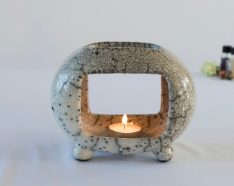 Oil Diffuser, Essential Oil Burner, Ceramic Handmade, Raku Fired, White Crackled, Oil Warmer, Wax Melter, One Of A Kind, Aromatherapy.