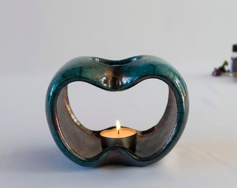 Raku Fired, Essential Oil Burner, Ceramic Handmade, Blue Bronze Crackled, Oil Warmer, Oil Diffuser, Wax Melter, One Of A Kind, Aromatherapy.