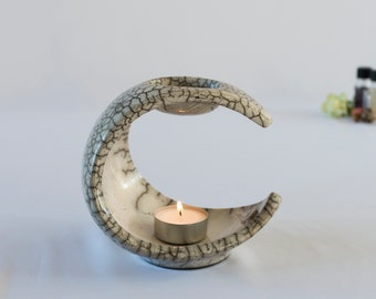 Aromatherapy Device, Raku Fired, Essential Oil Burner, Ceramic Handmade, White Crackled, Oil Warmer, Oil Diffuser, Wax Melter, One Of A Kind