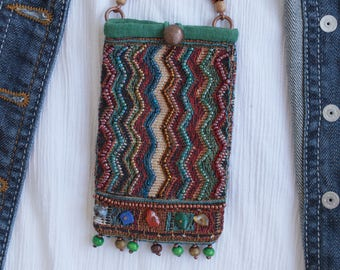 Bead embroidery Long Neck Pouch,Beaded Amulet pouch,fabric necklace purse,small pouch necklace,Boho pouch mini bag,textile bohemian jewelry