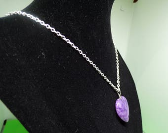 Silver chain with jade heart pendant necklace