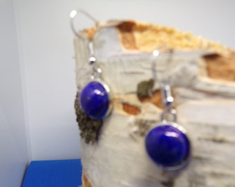earrings with 12 mm lapis lazuli stone cabochon