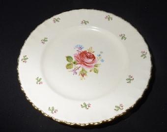 """Grindley, Cream Petal, dinner plate, Fragrant rose, 10"""",ironstone,vintage,Staffordshire,England, petalware, pink, rose, 22Kt gold"""