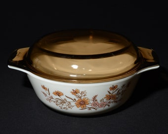 Vintage JAJ Pyrex Country Autumn Casserole Dish Set of 2 with Lid