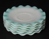 Set of 5, White, HAZEL ATLAS, Crinoline, Turquoise, Teacup saucers, 6 inches, milk glass, saucer, ripple, Vintage, aqua blue, ruffled edge