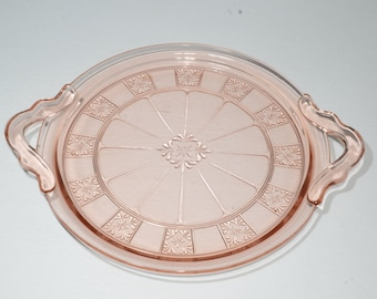 handles platter pressed glass Jeannette Glass pink depression DORIC vintage tray 10 inches pink glass depression glass