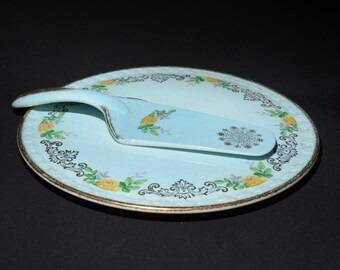 Made in England Aynsley Stoke-on-Trent Vintage Porcelain PieCake Yellow Server
