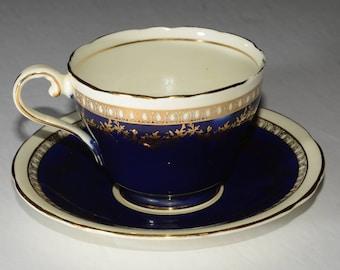 AYNSLEY, Vintage, Cobalt Blue, Aynsley, Teacup and Saucer, Vintage Teacup in Classic Cobalt, Bone China, Gold Rimmed, England
