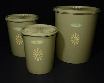 Vintage, TUPPERWARE, Set Of 3, Avocado Green, Sunburst, Tupperware Canister Set, 805-8, 809-3, 811-5, Servalier snap on lid, Made in Canada