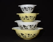 PYREX, Gooseberry, Set of 4, Cinderella, Yellow, Nesting bowls, 441 to 444, AMAZING SET, Vintage Pyrex Mixing Bowls, 1950s,Leaves and Berrys