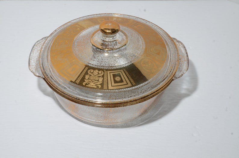 Fire King Culver 22k Gold Oven Glass Casserole Dish Etsy