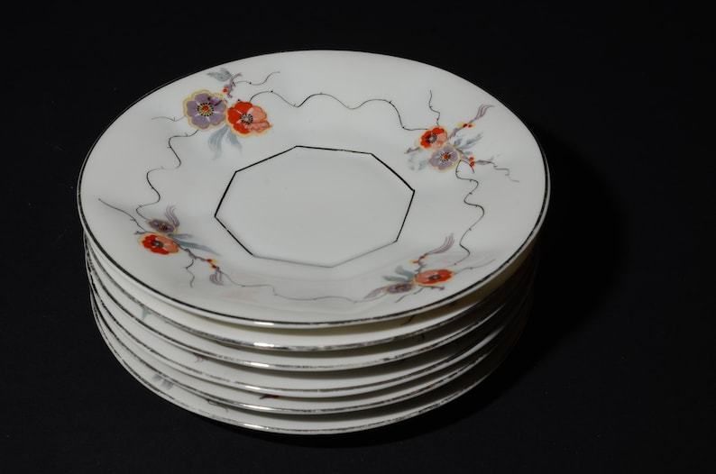 Fine Bone China dessert plate Czechoslovakia 6 inches plate octogonale shape Vintage,purple and red flowers RKG Set of 6 bread