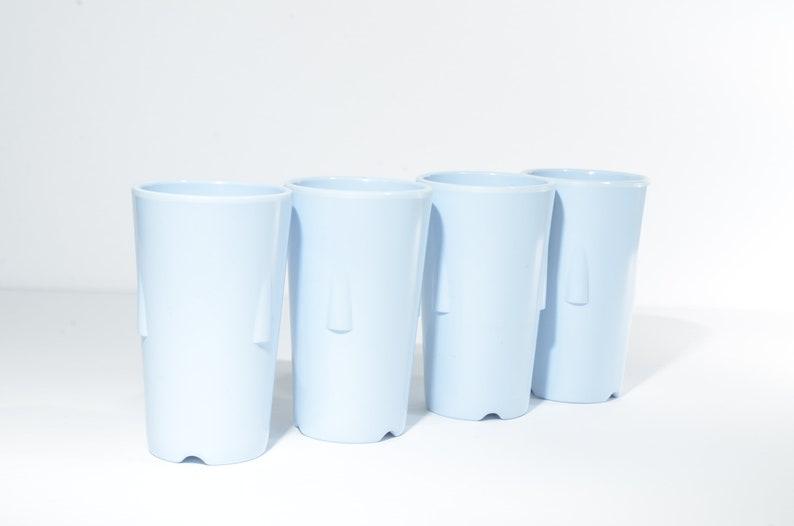 hard to find 337 set of 4 Canada GPL blue Vintage,Melmac Pastel 3 34 tall melamine Stacking,Canadian Hard Plastic Tumbler