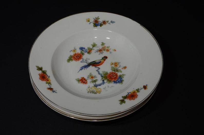 Set Of 3 Antique Bird Of Paradise Bowl Deep Plate Antique Etsy