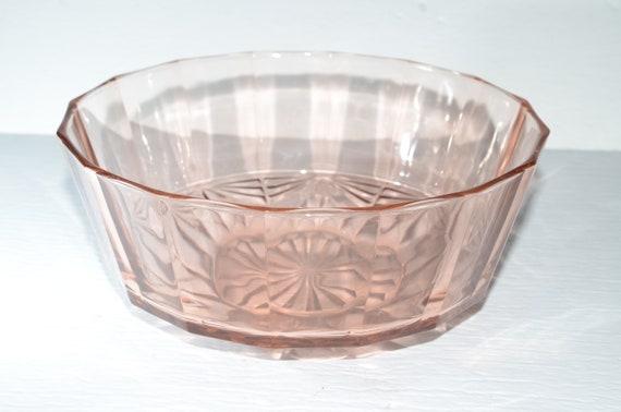 Fruit Bowl Diamond  Pinwheel  Kite Pattern KIG Indonesa Salad Bowl Pink Bowl Vintage Pink KIG Indonesia Depression Glass 9 Inch Bowl