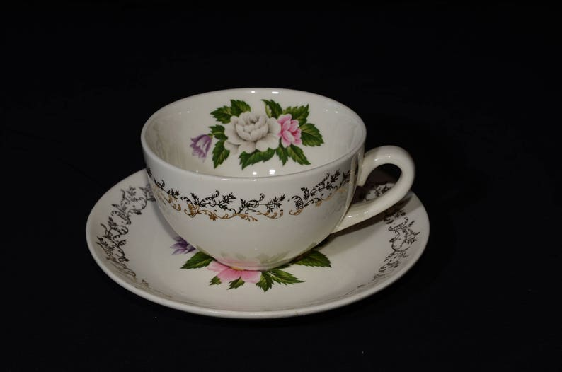 22k Goldbritish Empire Ware Bouquet Teacup And Saucer Etsy