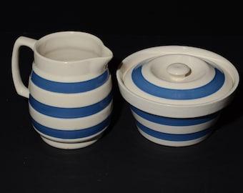 Vintage, Chef Ware, Blue, White, Stripe, Staffordshire Potteries, Lidded, sugar bowl and creamer, 1950s, Chef, Cordon Bleu, Ironstone